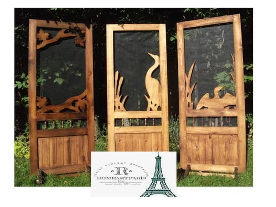 screen door. Rustic wood carving entrance door,animals embroidered .
