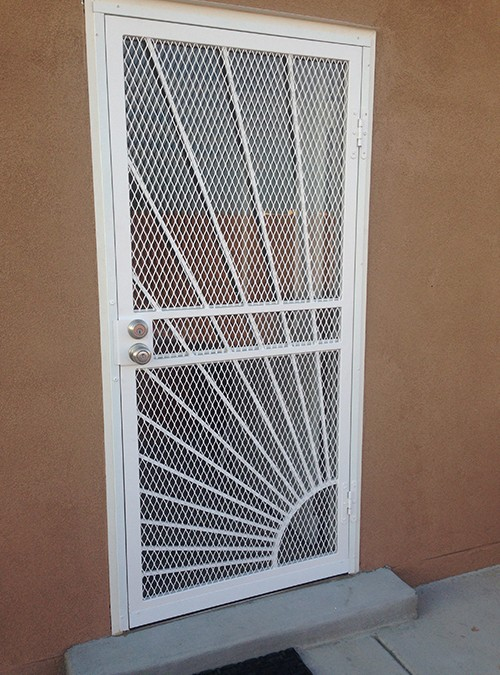 "Security screen door with 3/4"" expanded metal and Sunray desi"