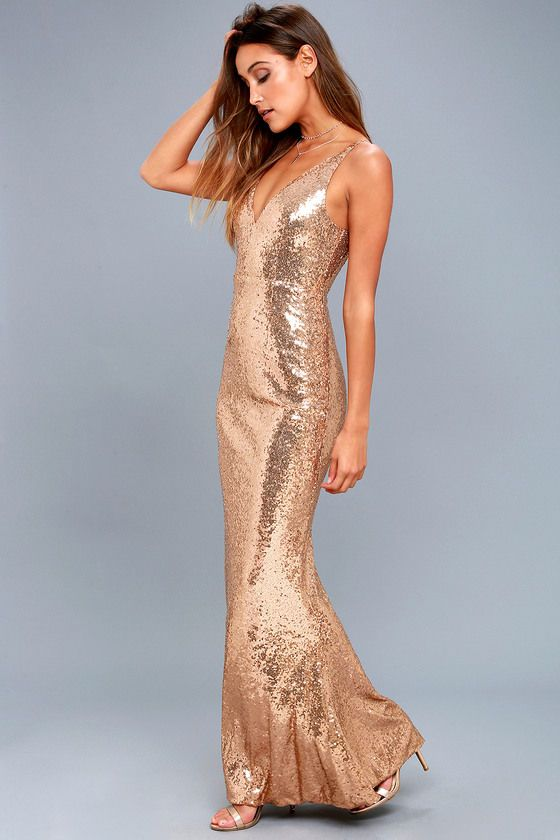 Here to Wow Gold Sequin Maxi Dress (With images) | Gold maxi dress .