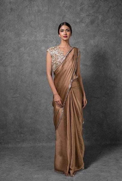 Satin Georgette Sequin Saree – FashionVib