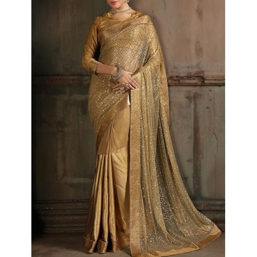 Buy Majisa Vision Golden Sequin Saree online | Looksgud.