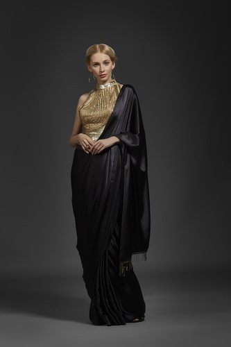 Khwaab Black & Gold Plain Sequin Saree, Rs 8999 /piece Anmol .
