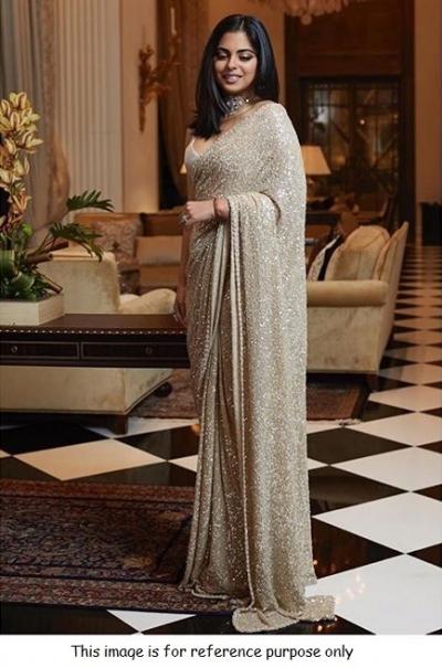 Bollywood Sabyasachi Inspired Isha ambani beige sequins sar