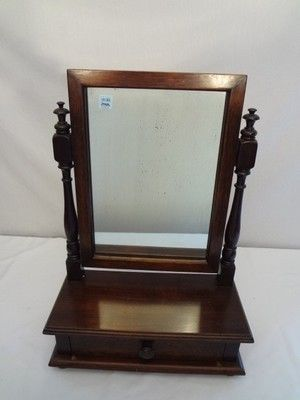 Antique Dresser Top SHAVING MIRROR STAND w/Drawer Vanity Mahogany .