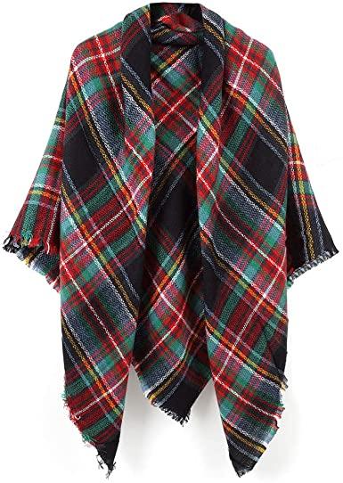 Women's Cozy Tartan Blanket Scarf Wrap Shawl Neck Stole Warm Plaid .