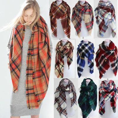 Women Blanket Warm Oversized Tartan Scarf Wrap Shawl Plaid Cozy .