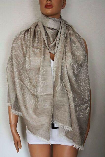 Gucci Women Scarf Shawl GG Guccissima 70 X 200 Cm Wool Silk 165903 .