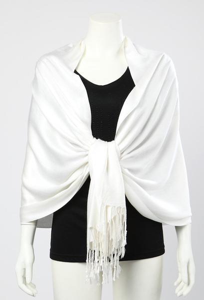 Pashmina Wrap Shawl Scarf Plain White Color PSH009 – Yangtze Sto