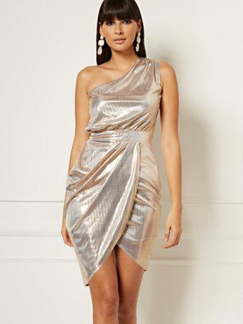 NY&C: Viv One-Shoulder Sheath Dress - Eva Mendes Collecti