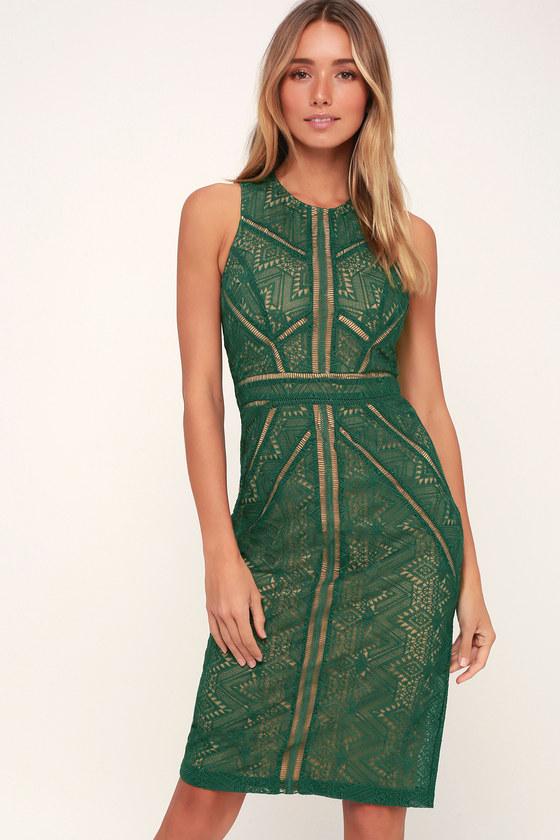 Bardot Eve - Dark Green Lace Dress - Sheath Dress - Midi Dre