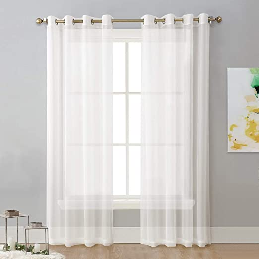 Amazon.com: NICETOWN Sheer Curtains 96 Long - Grommet Top Voile .