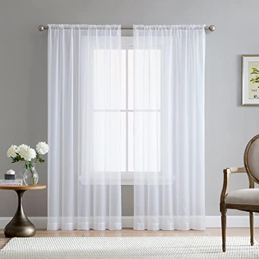 Amazon.com: HLC.ME White Sheer Voile Window Treatment Rod Pocket .