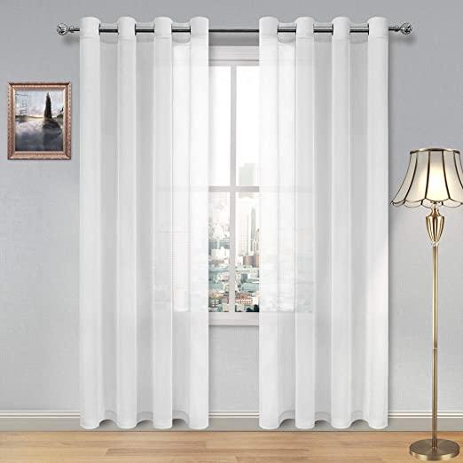 Amazon.com: DWCN White Sheer Curtains Linen Look Semi Transparent .