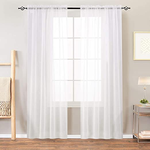 Amazon.com: Sheer White Curtains Bedroom Window Sheer Curtains .