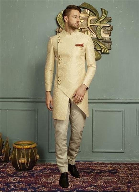 We Make Shopping Easy Cream Jacquard Zari Work Party Wear Designer .