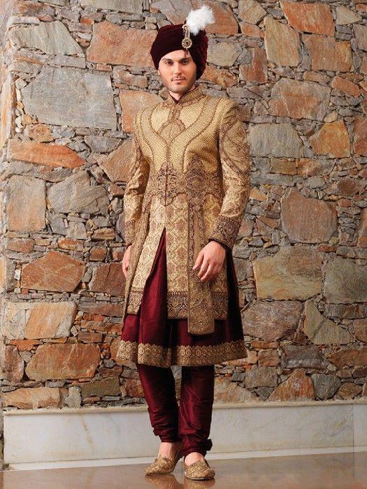 Golden Maroon Designer Wedding Wear Sherwani, Latest Designer men .