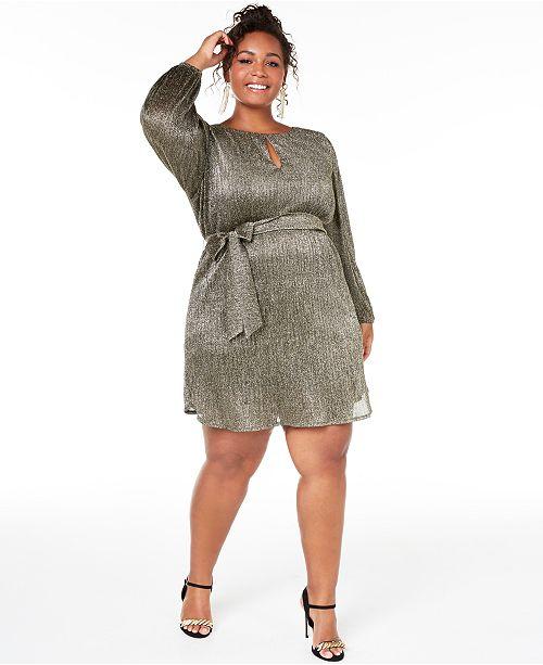 City Studios Trendy Plus Size Pleated Glitter Shift Dress & Reviews .