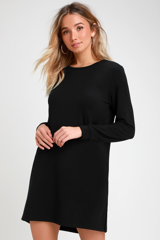 Cute Black Dress - Long Sleeve Shift Dress - Sweater Dre