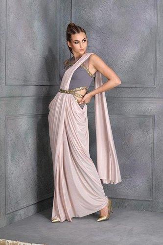 Party Wear Plain Shimmer Pink Lycra Designer Saree, 5.5 m .