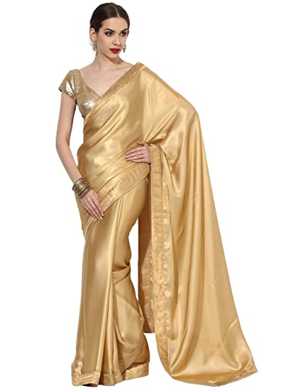Buy Indian Dobby All Gold Shimmer Georgette Saree at Amazon.