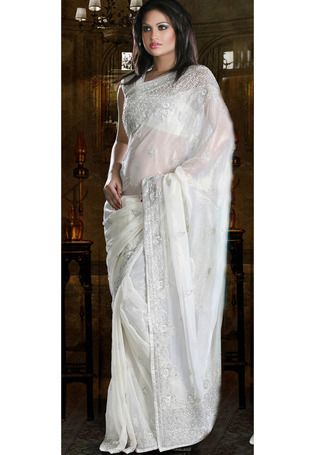 Dew Drop Off White Pure Shimmer Georgette Saree with Blouse (With .