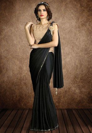 Butterfly Pallu Lycra Shimmer Saree in Black (With images) | Party .