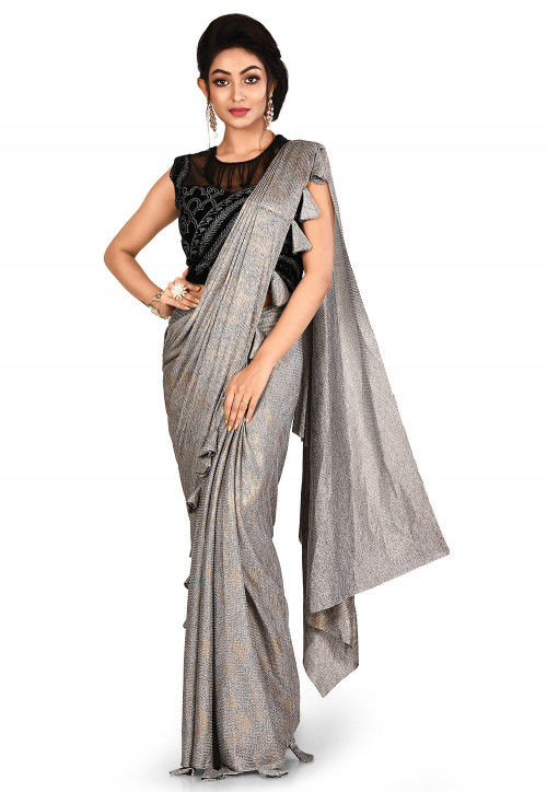 Pre-Stitched Lycra Shimmer Saree in Silver : SBJA4