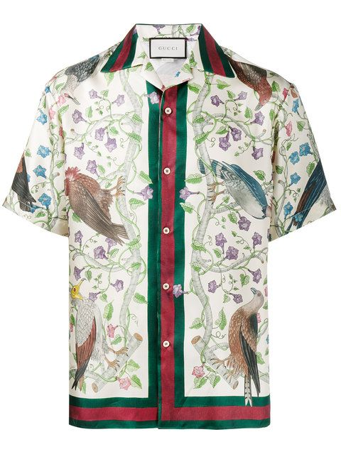 Shop Gucci Birds of Prey print bowling shirt. | Silk shirt men .
