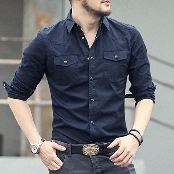 Buy New spring double pocket Mens Fashion shirt brand men long .
