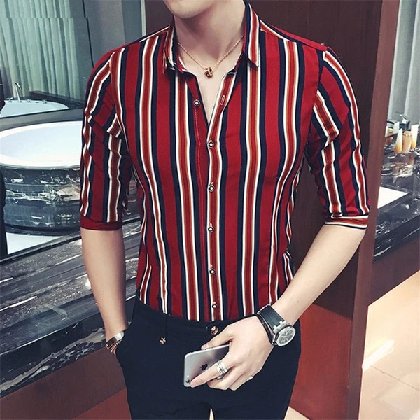 Chiffon Stripe Shirt Men Women Summer Slim Fit Hip Hop GD .