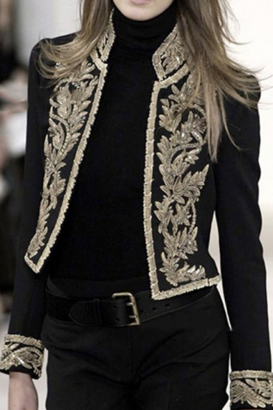 Womens Stand Collar Vintage Floral Embroidery Black Short Blazer .