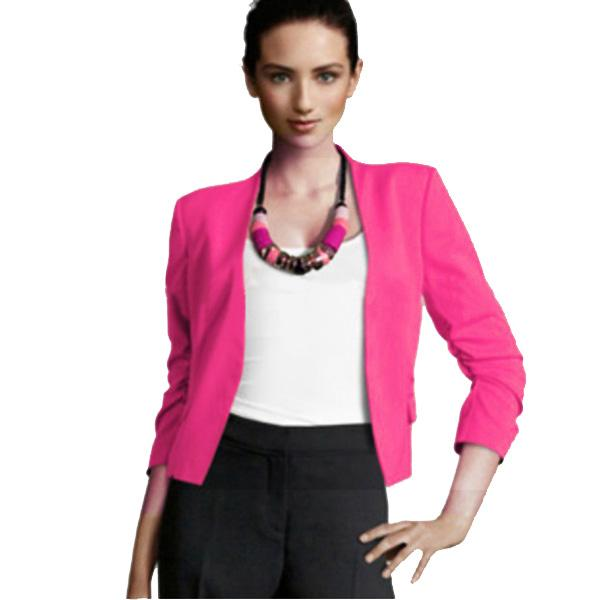 Great combinations with a short blazer in trendy colors .