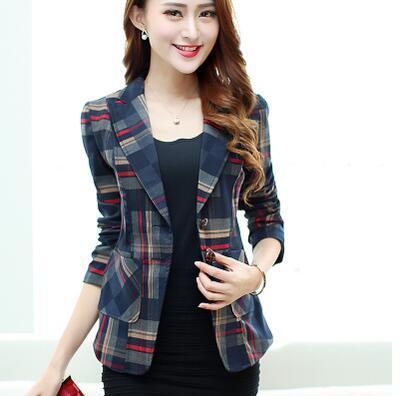 Women Blazers & Jackets Red Plaid Blazer Short Blazer .
