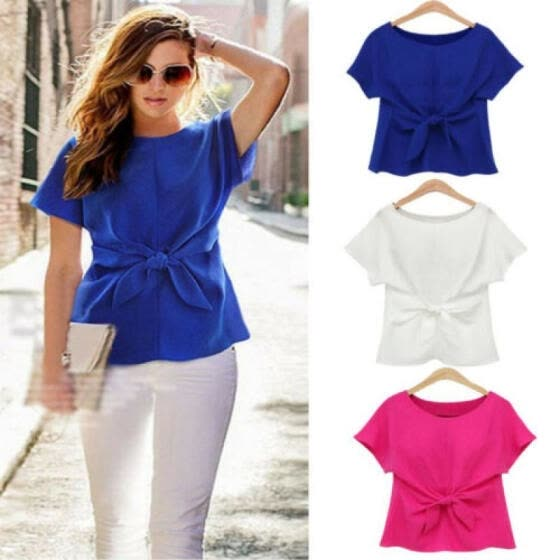 Shop HOT Fashion Womens Ladies Short Sleeve Casual Chiffon Shirt .