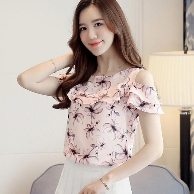 Summer Print Chiffon Short Sleeve Blouse, Sizes S to XXL (2 colors .