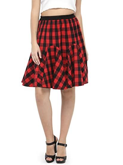 Buy Hive91 Short Skirts for Women Red Checkered Short Skirts .