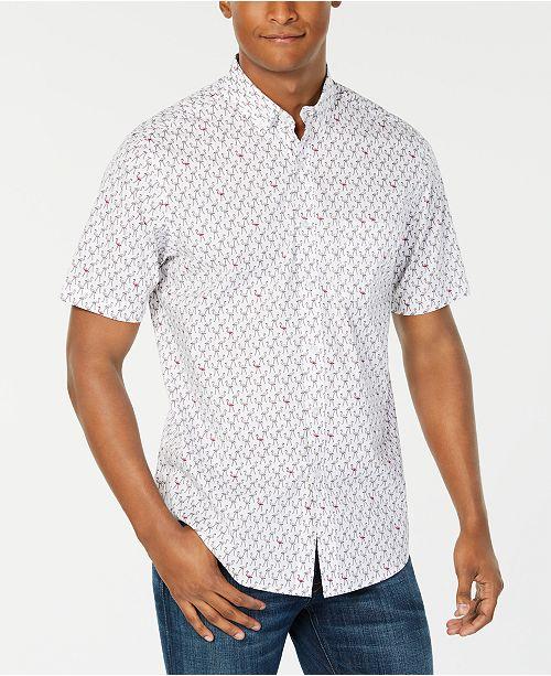 Club Room Men's Flamingo Print Short Sleeve Shirt, Created for .