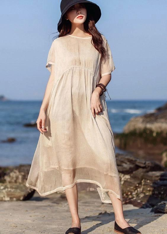 Long Tunics Beautiful Khaki O Neck Cotton Short Sleeve Summer .
