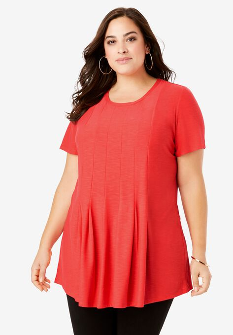 Pleated Tunic with Short Sleeves| Plus Size Tunics | Roaman