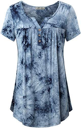 Buy Finice Women's Notch Neck Short Sleeve Tie-dye Tunic Shirt .