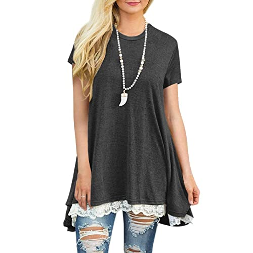 Short-Sleeved Lace Tunics: Amazon.c