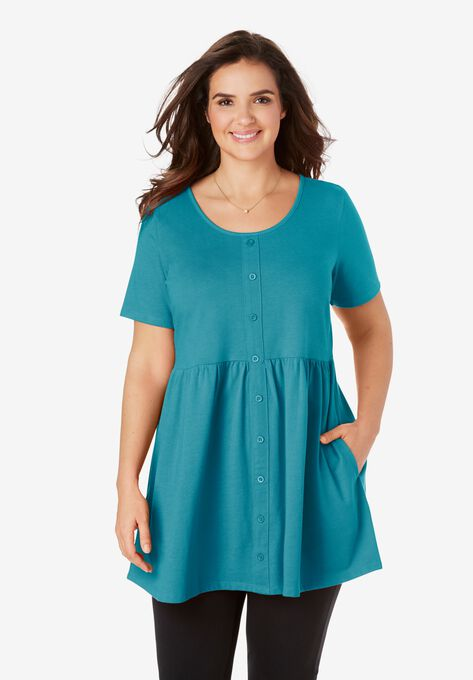 Short-Sleeve Empire Waist Tunic| Plus Size Tunics | Woman With
