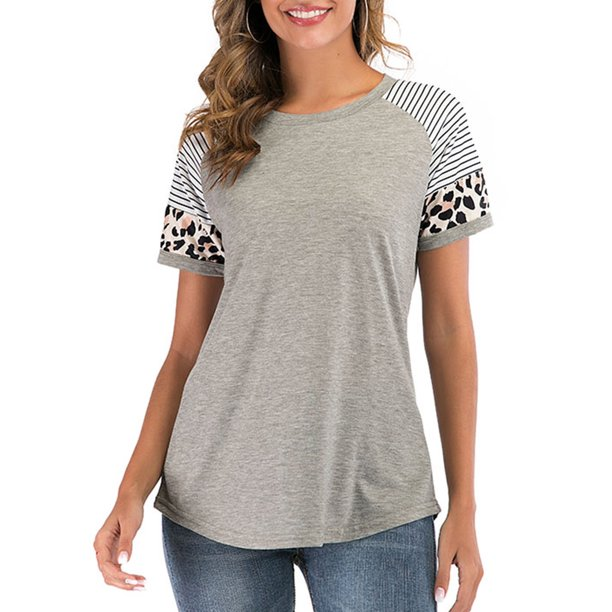 Womens Baseball Tee Short Sleeve Raglan Shirt Leopard Striped .