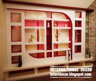modern gypsum wall decoration and shelves for living room interior .