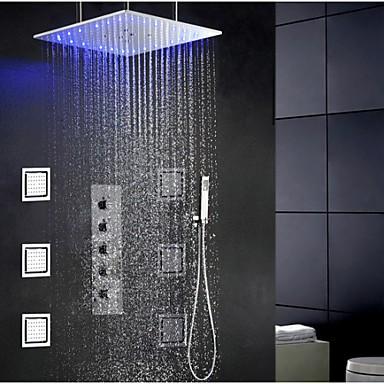 Swash And Rainfall Bathroom LED Shower Tap Set, 20 Inch Ceil .