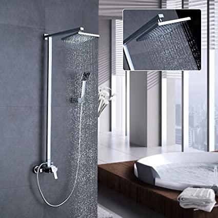 Auralum® 8 inch rain Shower Head Waterfall Design Overhead Tap SET .