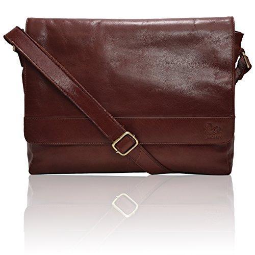 Leather Laptop Messenger Bag for men - Mens Office Briefcase .