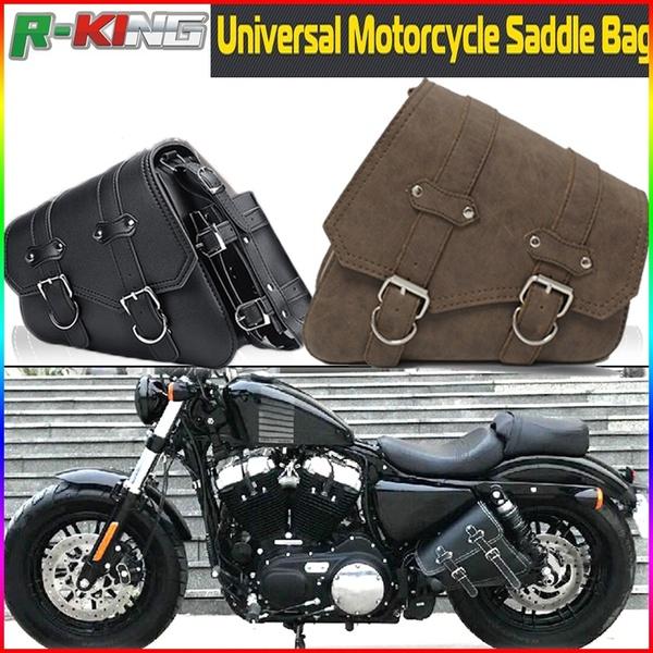 2PC Motorcycle PU Leather Saddle Side Bags Motorbike Side Moto Bag .
