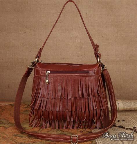 Tassel messenger bag for women, brown leather side bag - BagsWi
