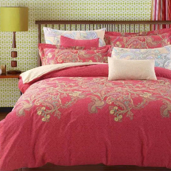 Chinese Design Red Silk Wedding Flat Sheet Bed Sheets 100% Cotton .